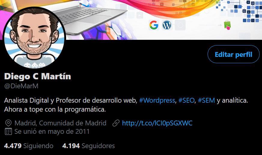 imagen del perfil de twitter de Diego C Martín @diemarm