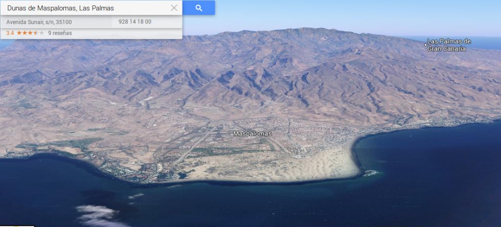 Nuevo Google Maps. Dunas de Maspalomas, Gran Canaria