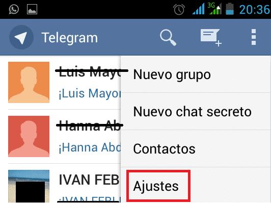 Telegram Ajustes