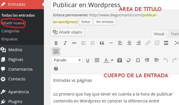 Añadir entrada WordPress