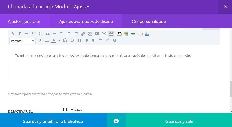 editor de texto visual en wordpress