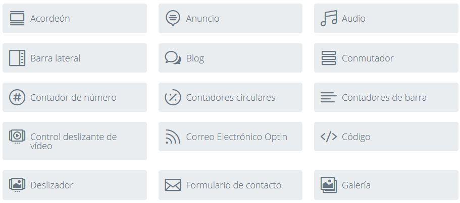 modulos disponibles en divi builder para WordPress