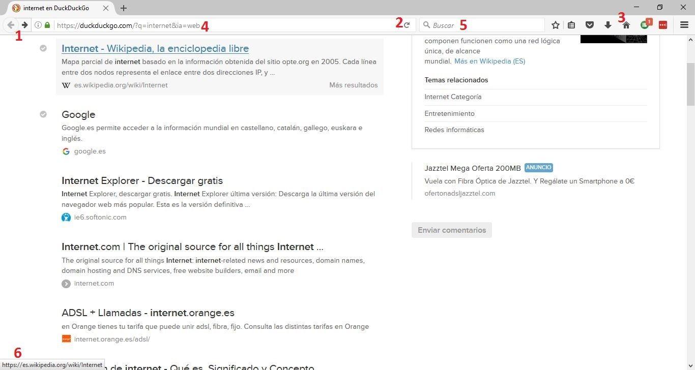 Elementos de un navegador web