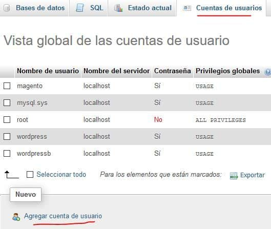 crear usuario en PHP My Admin Wamp server - instalando wordpress
