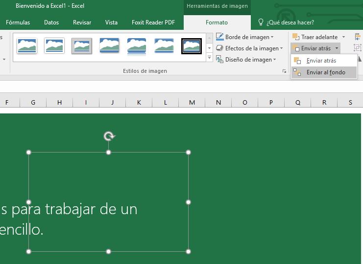 Imagen enviada al fondo en Excel
