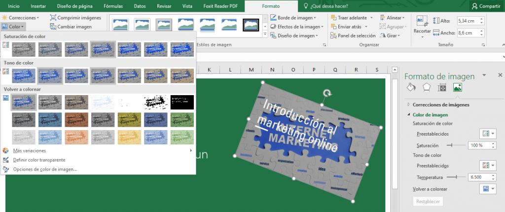 opciones de color en las imágenes con MS Office