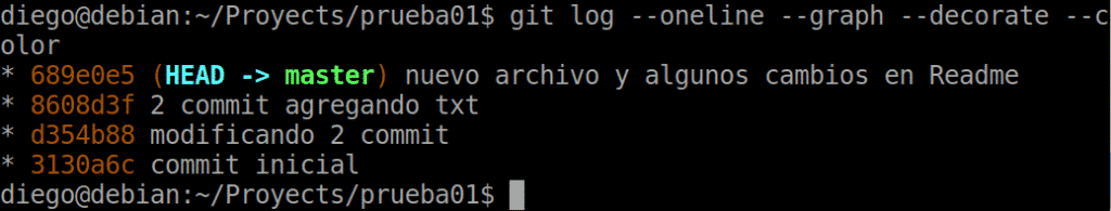 16 git log con comandos de estilo y compacto