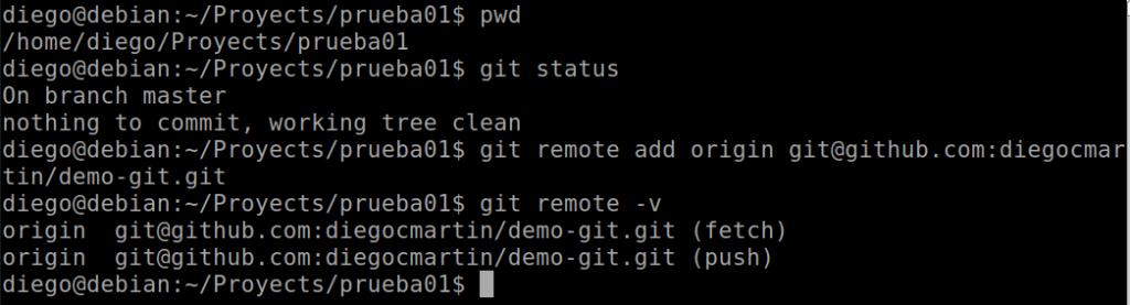 32 Git remote para ver el estado de enlazado de la conexión