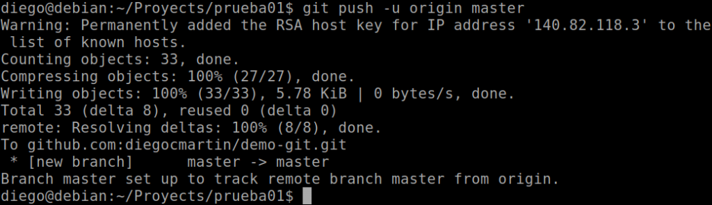 33 Primer push para enviar proyecto a Github