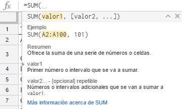 Barra de fórmulas en inglés en las hojas de cálculo de Google