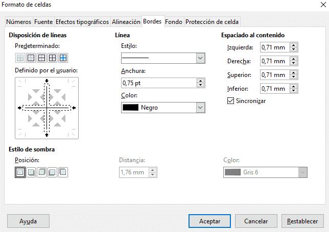 Configuración de bordes en LO Calc