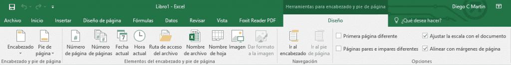 Herramientas de encabezado y pie en MS Excel