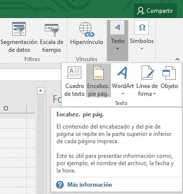 Insertar encabezado y pie en Excel
