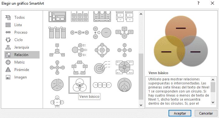 Selección de diagramas con SmartArt