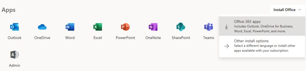 Acceso a la instalción de Office en versiones modernas como Office 365 o 16