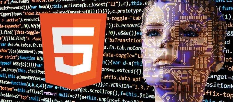 Curso de HTML5. Logotipo sobre fondo de código fuente y rostro de robot femenino