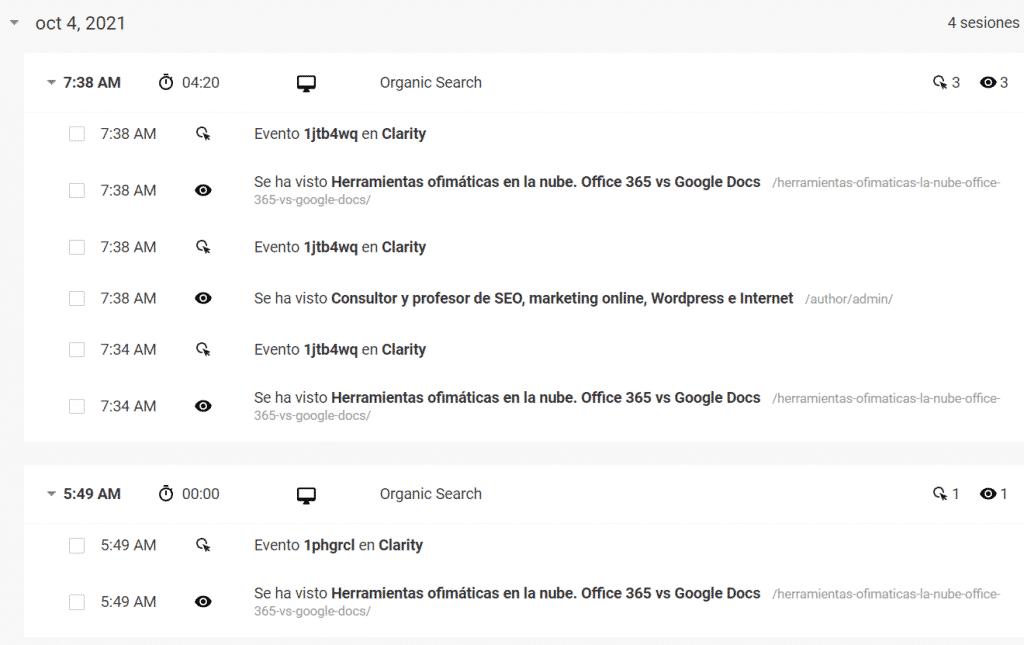 captura del detalle de sesiones de un usuario